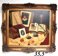 Vint Oil Painting on Canvas, Still Life Tromp L'oeil by Romek ARPAD (1883-1960)