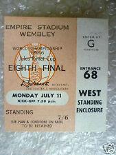 BIGLIETTO COPPA DEL MONDO 1966-Inghilterra V Uruguay, 11 Luglio (ORIGINALE * eccellente *)