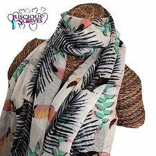 Écharpe blanche avec toucans et les feuilles de palmiers dames superbe souple qualité sarong