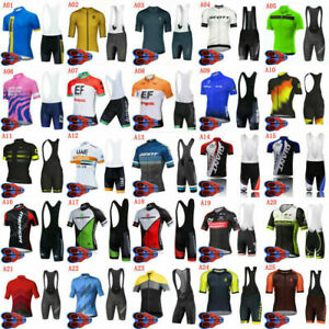 Mens Cycling Team Kits Short Sleeve Jersey and Bib Shorts Bike Clothing Set