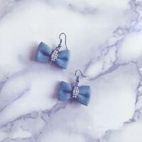 Light Blue Bow Earrings
