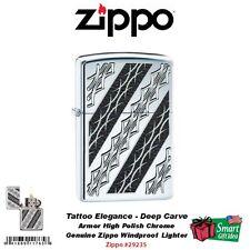 Zippo Tattoo Elegance Lighter, Armor High Polish Chrome Deep Carve Tribal #29235