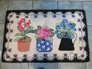 """Claire Murray Hand hooked rug Potted Primrose 24"""" x 36"""""""