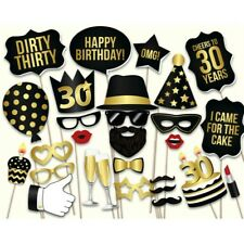 28pcs 30th Thirtieth Year Birthday Party Masks Favor Photo Booth Props On Stick