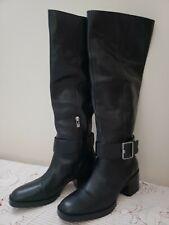 Via Spiga Garnett Black Leather Knee High Riding Tall Boots Women's Size 8 M US