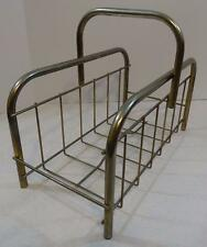 VINTAGE GOLDTONE WIRE METAL MAGAZINE RACK