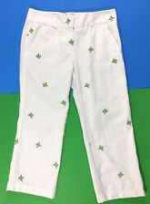 J Crew Favorite Fit White Cropped Capri Pants Embroidered Fish Size 6 Cotton