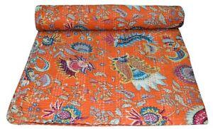 Indian Handmade Throw Bedspread Bedding Mukat Vintage Kantha Quilt Cotton Orange