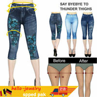 Damen Capri 3/4 Leggings in Jeans Optik Kurze Jeggings Capri Leggins DE