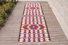 Turkish Kilim 39''x107'' Vintage Runner Decorative Corridor Hallway Rug Wool 3x8