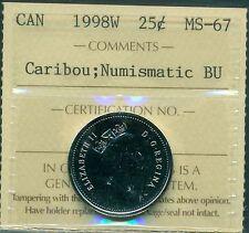 """1998W Canada 25 Cent """"Caribou"""" ICCS Certified MS-67 NBU"""