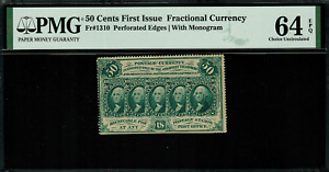 FR-1310 $0.50 First Issue Fractional Currency - 50 Cents - PMG 64 EPQ