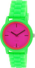 Geneva Platinum Women's Magenta Dial Lime Green Plastic / Silicone Watch 9856