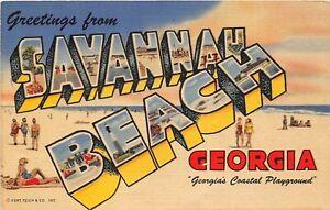 H41/ Savannah Beach Georgia Postcard Linen Large Letter Greetings Teich