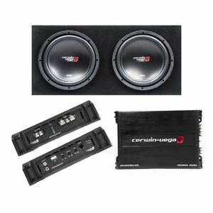 "CERWIN VEGA 3000W Dual 12"" Sealed Subwoofer Enclosure w/ Amplifier 