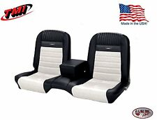 Deluxe PONY Seat Upholstery Mustang Convert Front/Rear Bench - Black & White