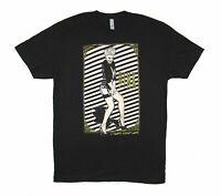 P!NK Pink Diagonal Stripes Portrait Gold Logo Black T Shirt New Official