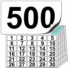 Premium Plastic Numbered Stickers 1 to 500. Durable Waterproof Number Labels