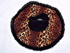 Kitty/Cat Adult Show Bib. Round rust w/black&rust leopard print
