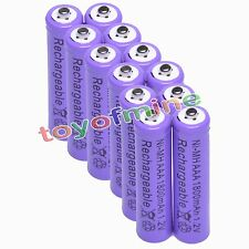 12 pcs AAA 1800mah rechargeable batteries purple