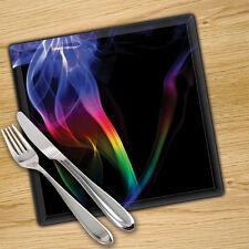 VETRO Temperato Stampa Digitale Tovagliette x 4-Arcobaleno Fumo 30cm x 30cm