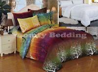 RAINBOW TREE Bedding Set: Duvet Cover Set or White Comforter or Both, Queen/King