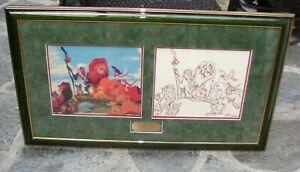 FRAMED SERICEL & DRAWING WALT DISNEY ANIMATION ART THE LION KING 1994 COA