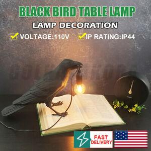 NEW BLACK Bird Table Lamps Resin Crow Desk Lamp Bedroom Light Fixtures decorate