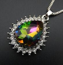 Betsey Johnson Multi-Color Crystal Rhinestone Teardrop Pendant Long  Necklace