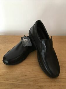 Henley Comfort Men's Slip on Black Leather Shoe Newman UK 8 EU 42 NEW