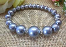 BRACELET, SILVER-GREY GLASS PEARLS WITH RHINESTONE SPACERS - 6549