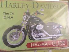 Vintage Metal Wall Harley Davidson Motorcycle wall sign 30cm ' 74 O.H.V '