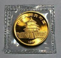 1987-S China 1 oz Gold Panda 100 Yuan Coin BU, Sealed, 1 oz of .999 Fine Gold