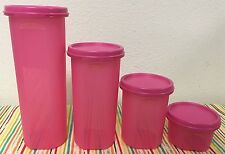 Tupperware Round Modular Mates Set Of 4 #1, #2, #3, & #4 Pink w/ Matching Seals