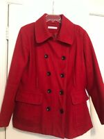 New York & Company Womens Size XL Pea Coat Red Polyester & Wool Double Breasted