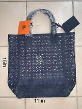 NWT Tory Burch Large MATTE Navy Blue Lace Perforated Patent Tote Bag.