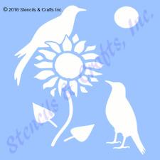 "5"" Crow Stencil Primitive Template Sunflowers Flower Birds Paint Craft Art New"