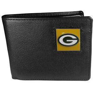 Green Bay Packers Leather Bi-fold Wallet W/ Flip ID Window