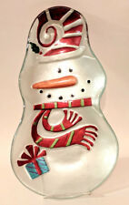 "Glass Snowman Tray Platter Painted 13"" Dish Winter Christmas Party w/ Stand"