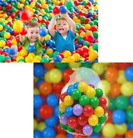 100 Multicolour Plastic Balls Toys Play Ball Pits Fun Indoor-Outdoor Family New