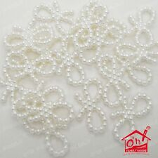 Ivory & White Pearl Butterfly Bows 18mm Wedding Invitation Card Nail Craft Make