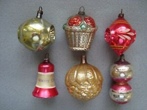 SIX ANTIQUE FIGURAL FEATHER TREE CHRISTMAS ORNAMENTS - GERMANY