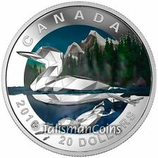 Canada 2016 Geometry in Art #1 Canadian Icons Loon $20 Silver Low Poly Proof