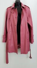 Margaret Godfrey Womens Leather Coat Jacket Trench Pink Belted India Size 12