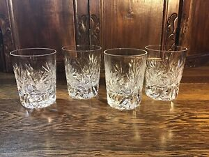 4 Crystal Double Old Fashioned Glasses, Stunning!