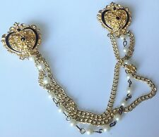 double broche vintage couleur or attache gilet perle émail et cristal noir 96