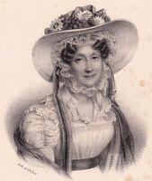 Lithographie Marie-Adélaïde de Bourbon Duchesse d'Orléans 1833