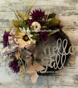 "Handmade Farmhouse Front Door Fall Wreath Purple and Ivory 24"" Diameter"