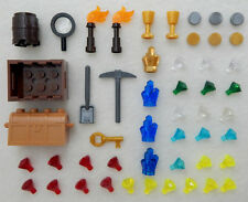 50+ PIECE LEGO TREASURE LOT new parts accessories gold diamonds jewels minifig