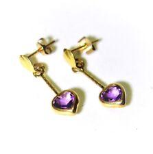 9ct 9k Yellow Gold Amethyst Heart Drop Earrings